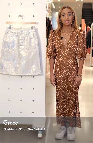 Factory Metallic Denim Skirt, sales video thumbnail
