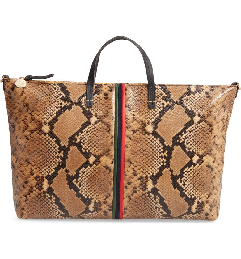 CLARE V. Attache Snake Embossed Goatskin Leather Tote, Main, color, 200