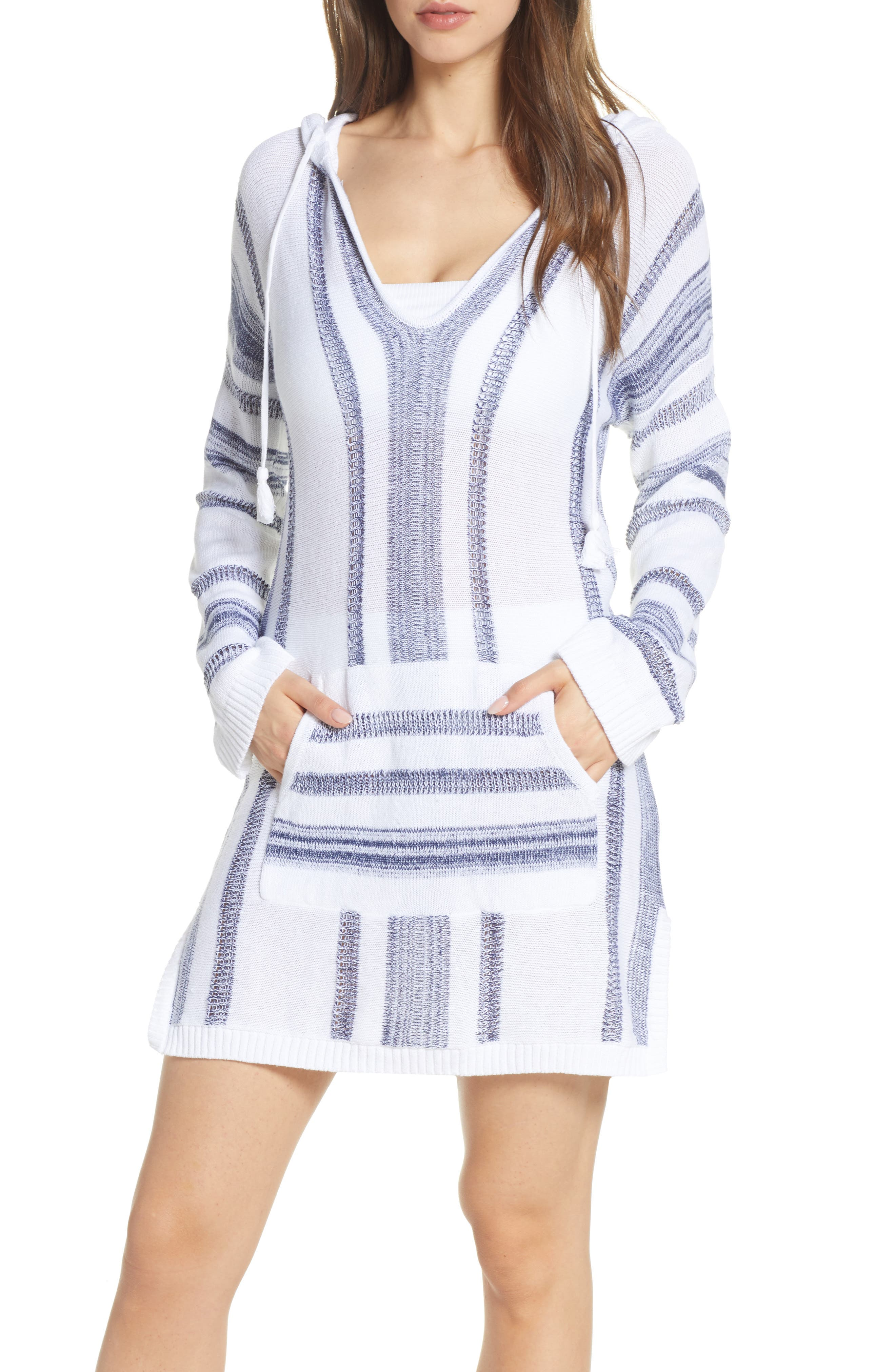 Baja Hooded Cover-Up Sweater, Main, color, WHITE/ MARE