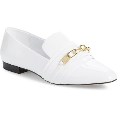 Karl Lagerfeld Paris Nikki Buckle Patent Leather Loafer- White