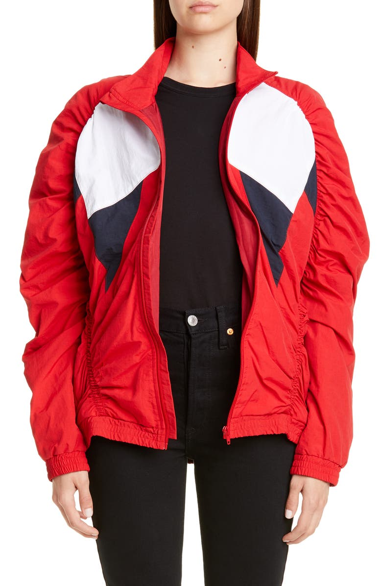 MARTINE ROSE Paneled Ruched Track Jacket, Main, color, RED