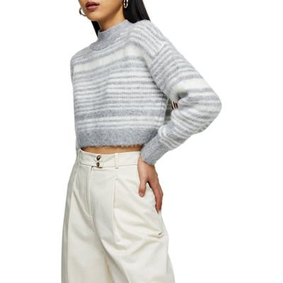 Topshop Super Crop Stripe Sweater, Grey