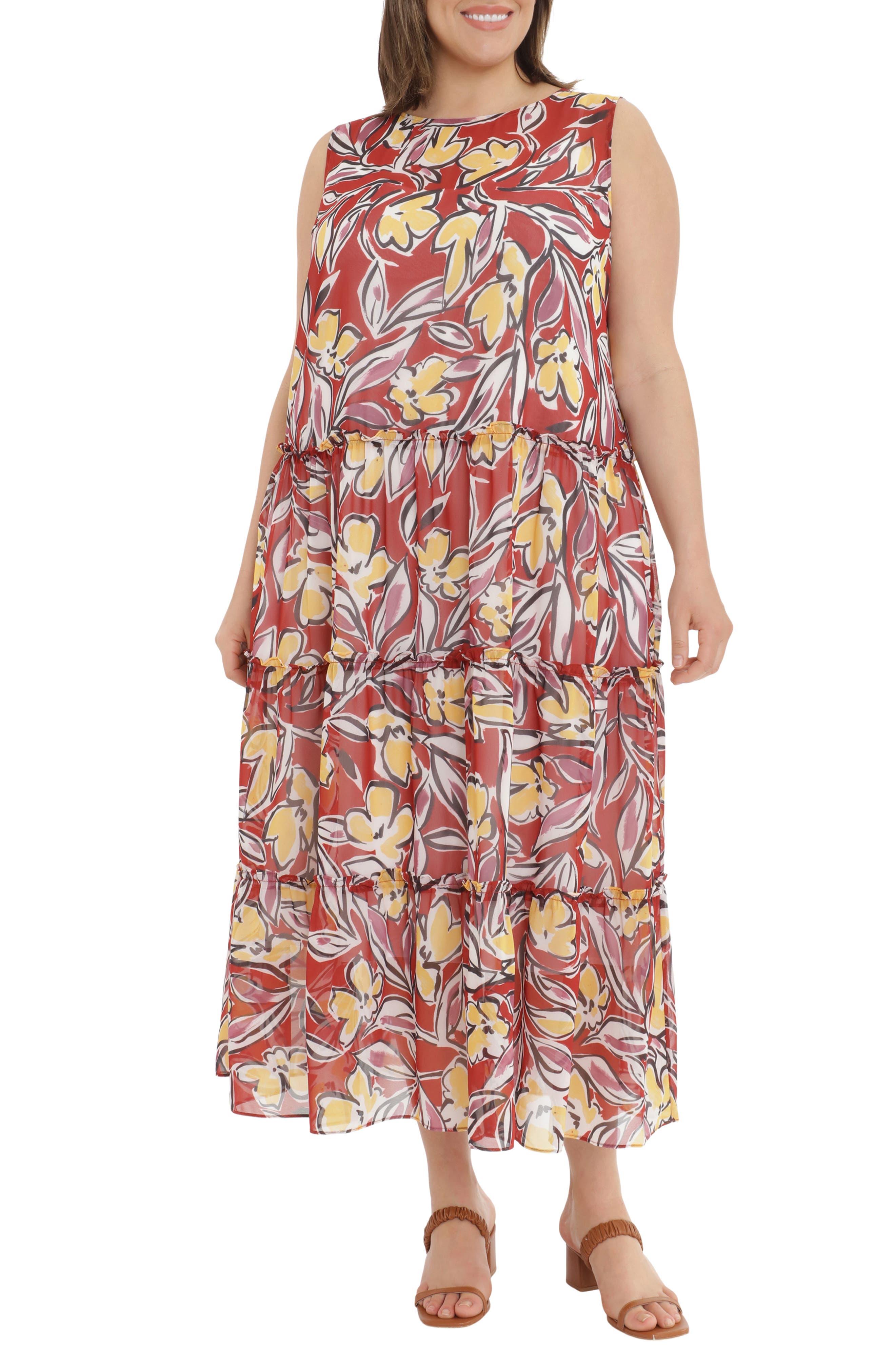 Floral Print Tiered Maxi Dress