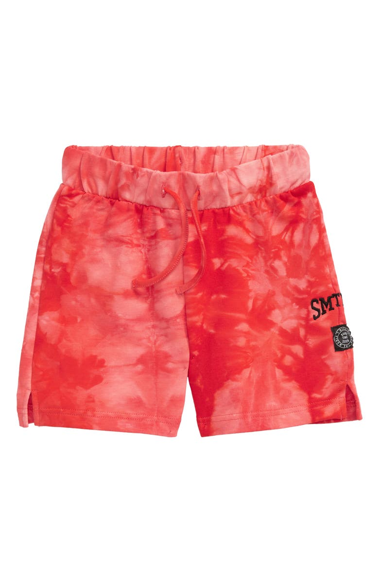 SOMETIME SOON Laguna Tie Dye Stretch Organic Cotton Shorts, Main, color, RED