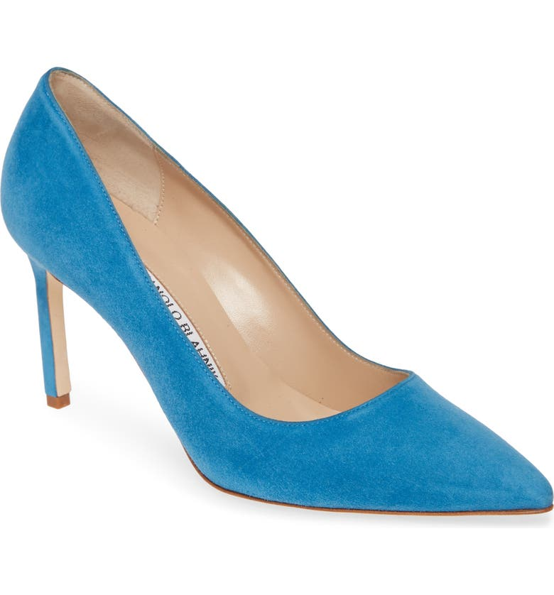 MANOLO BLAHNIK BB Pointy Toe Pump, Main, color, BLUE SUEDE