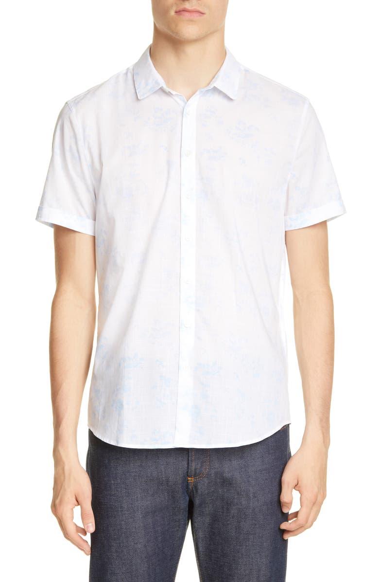 JOHN VARVATOS Regular Fit Floral Short Sleeve Button-Up Shirt, Main, color, 441