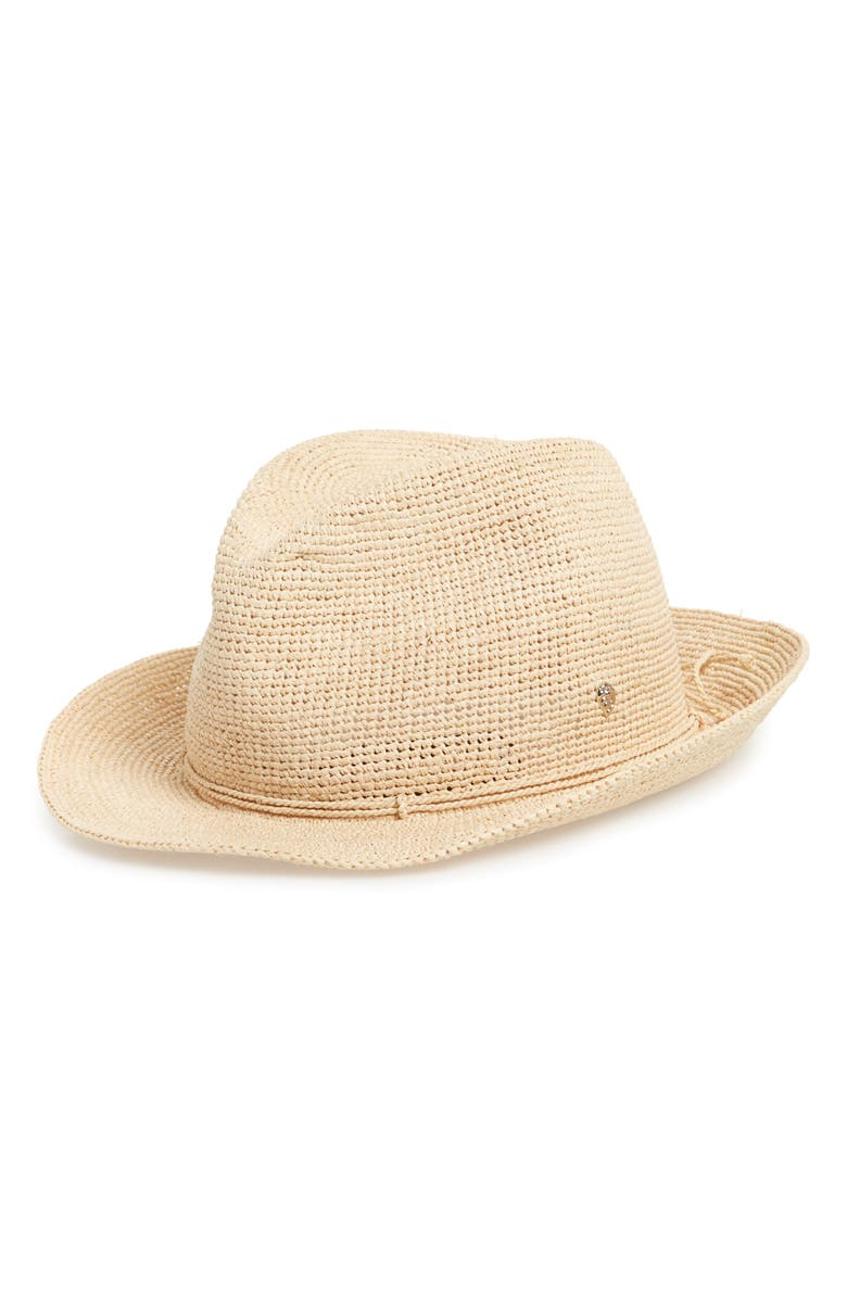 HELEN KAMINSKI Raffia Crochet Packable Sun Hat, Main, color, NATURAL