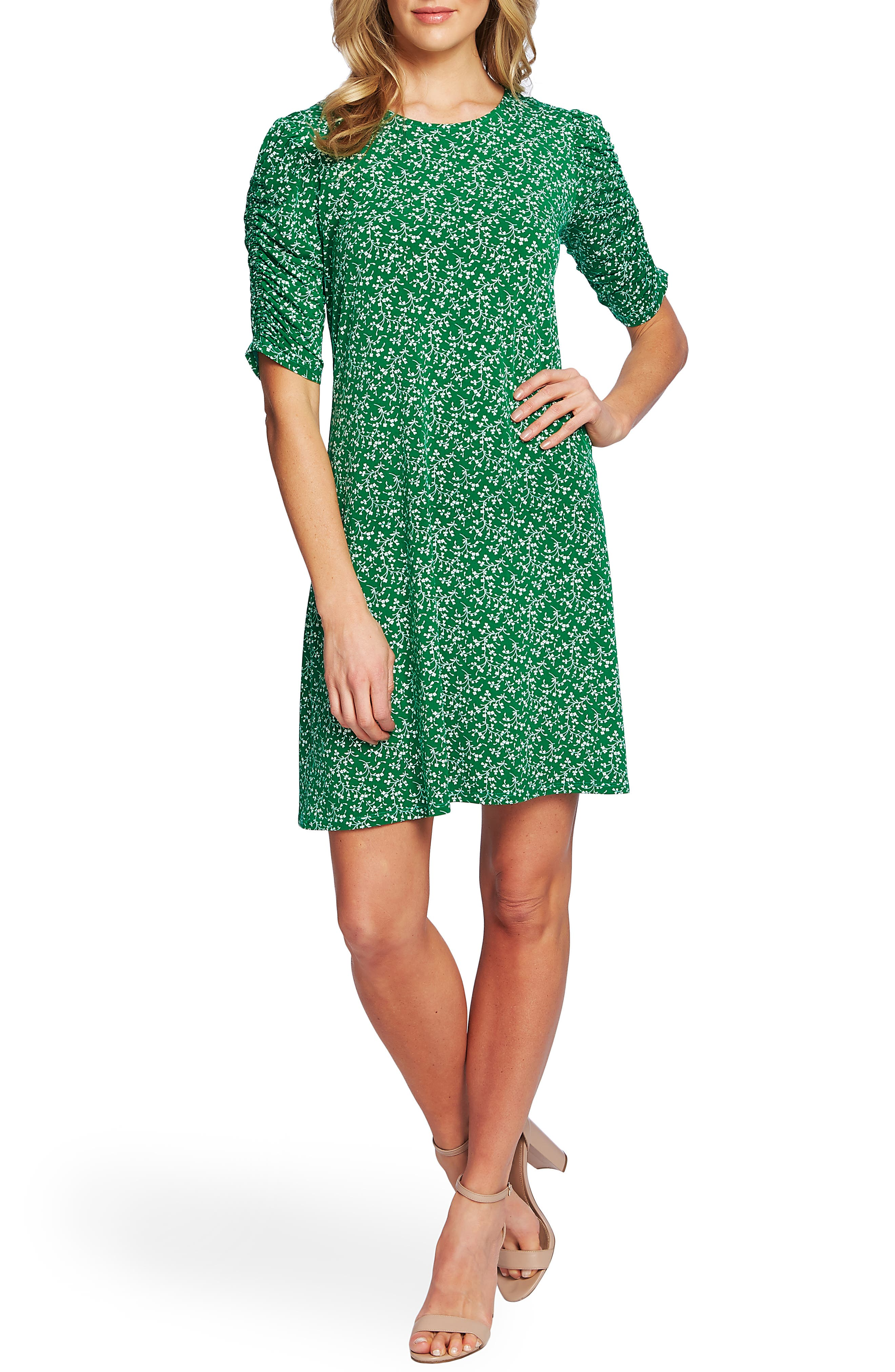 Cece Floral Ruched Sleeve Dress, Green