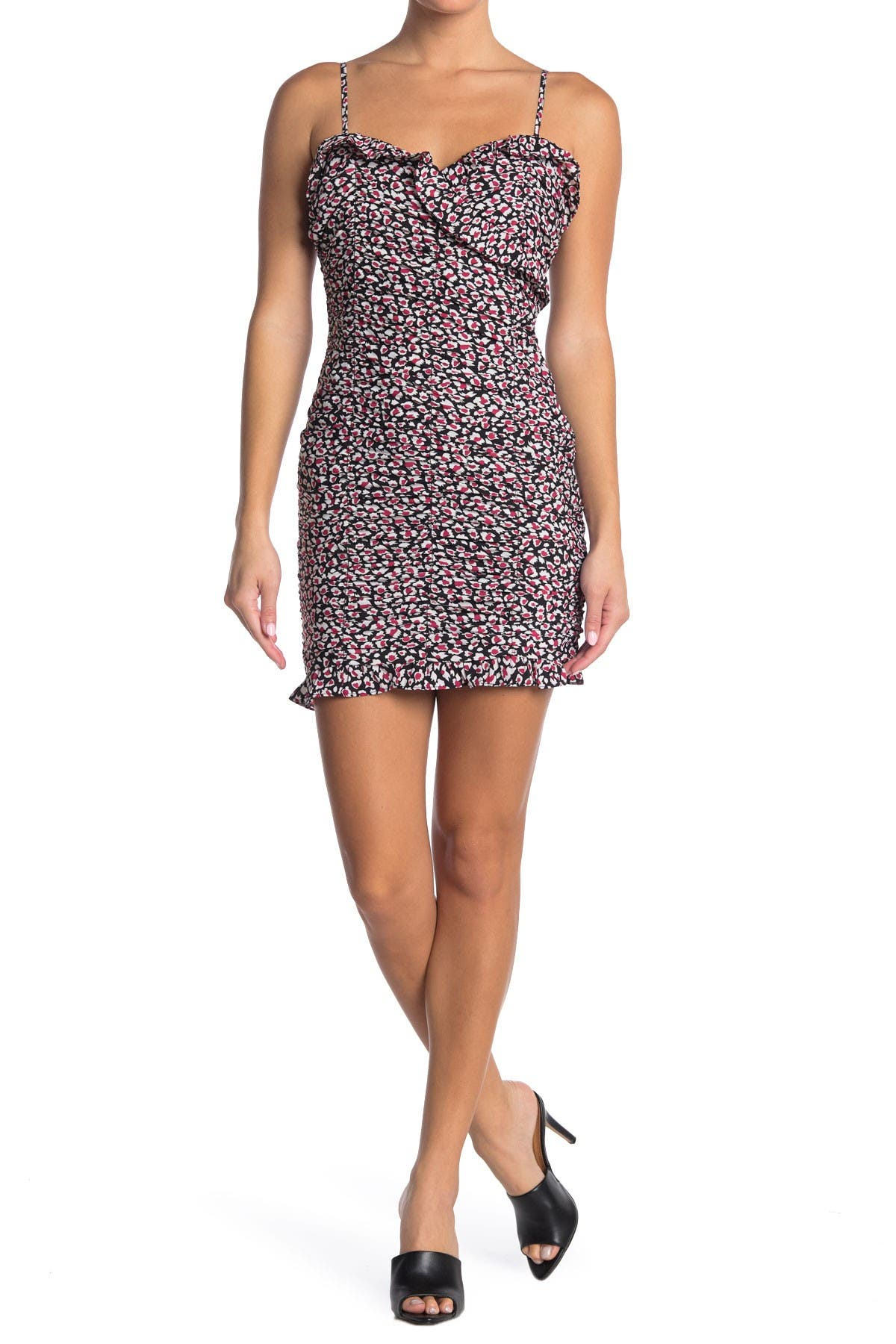 Image of Lush Printed Cami Ruched Mini Dress