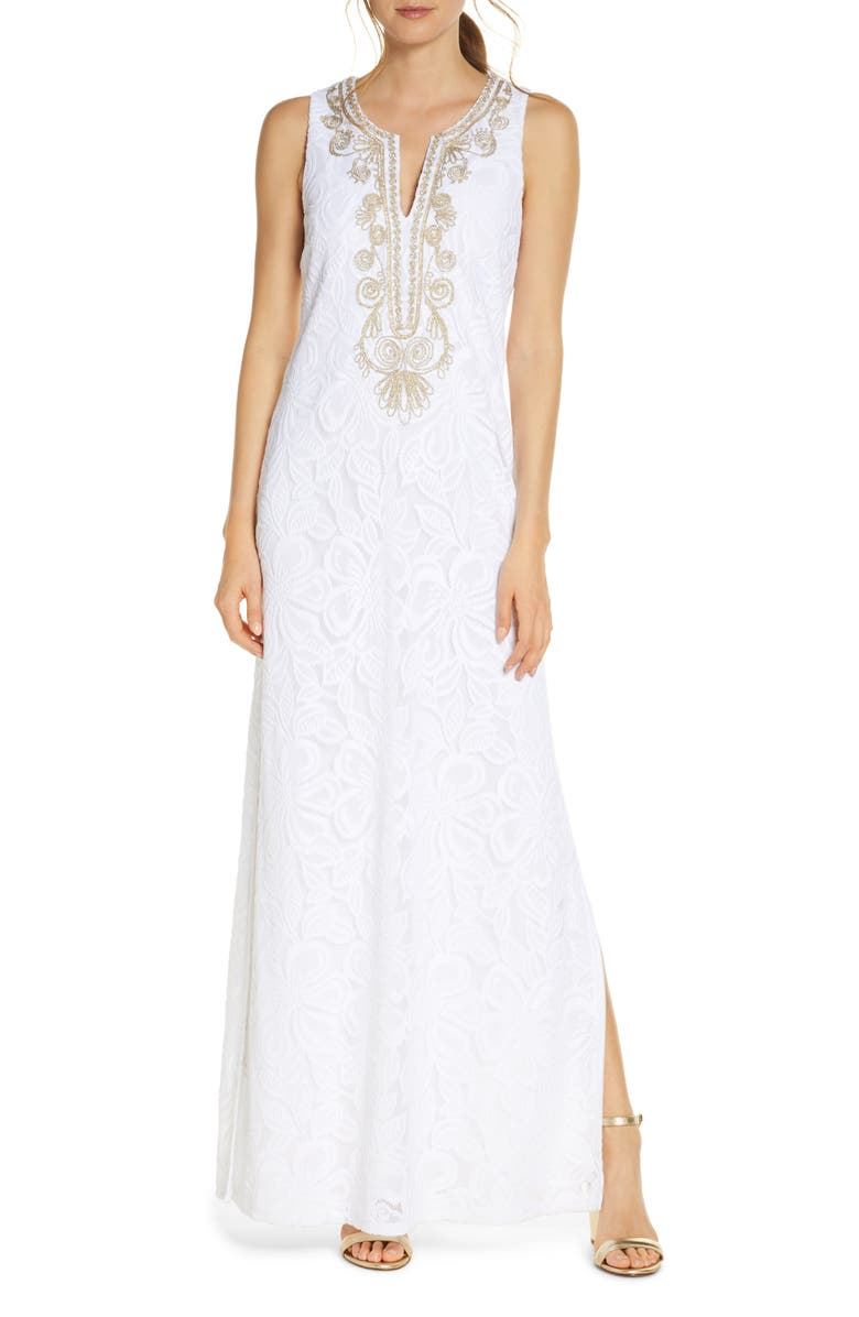 LILLY PULITZER<SUP>®</SUP> Carlotta Maxi Dress, Main, color, RES WHT WLDFLWR SR LACE