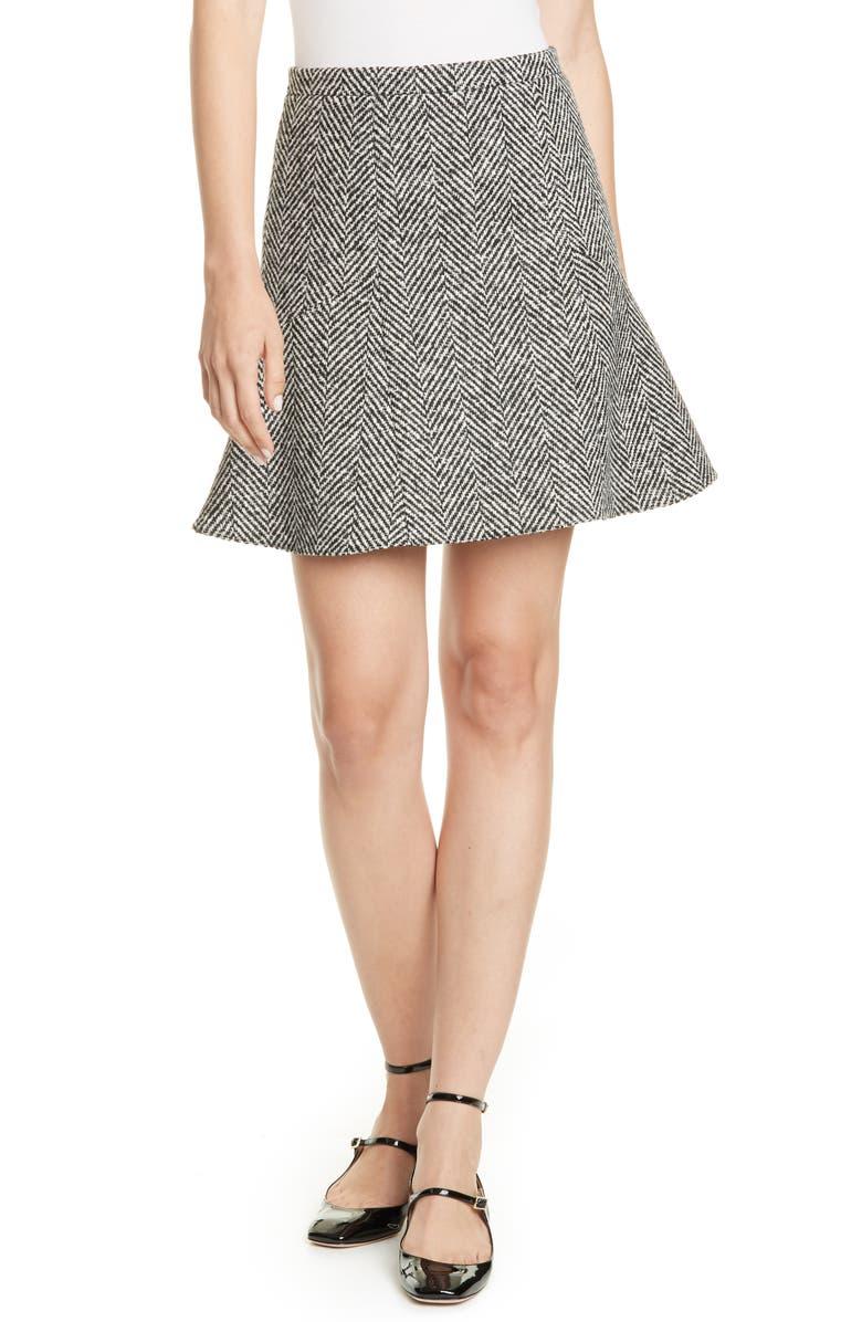 RED VALENTINO Herringbone Tweed Flounce Skirt, Main, color, 037