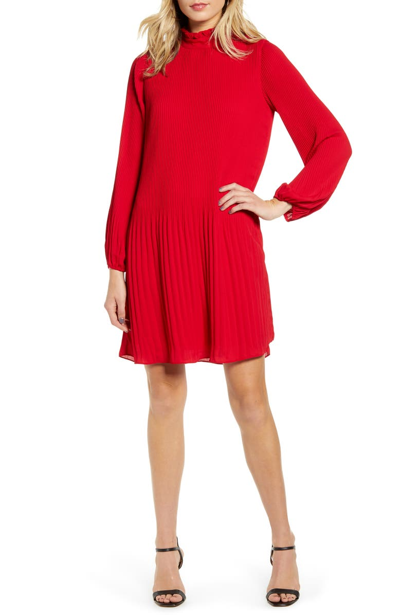 CHELSEA28 Pleat Shift Dress, Main, color, RED