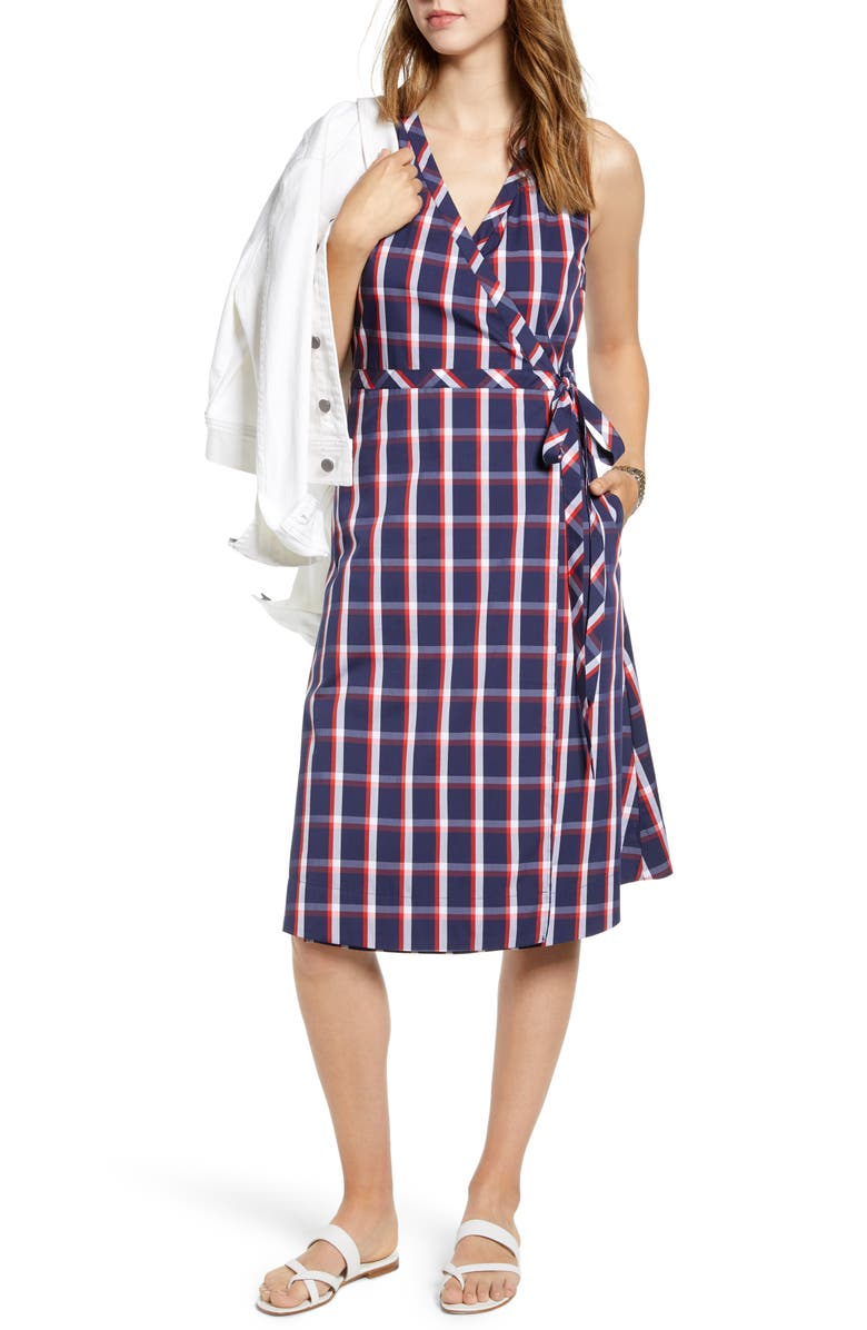 1901 Check Wrap Dress, Main, color, NAVY P ALEX PLAID