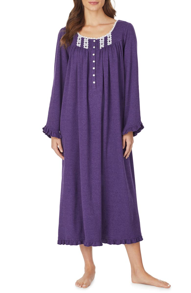 EILEEN WEST Ballet Long Sleeve Nightgown, Main, color, VIOLET HEATHER