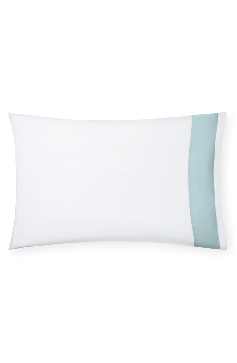 SFERRA Casida 200 Thread Count Pillowcase, Main, color, WHITE/ POOLSIDE
