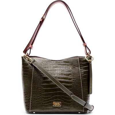 Frances Valentine Small June Croc Embossed Leather Hobo - Green
