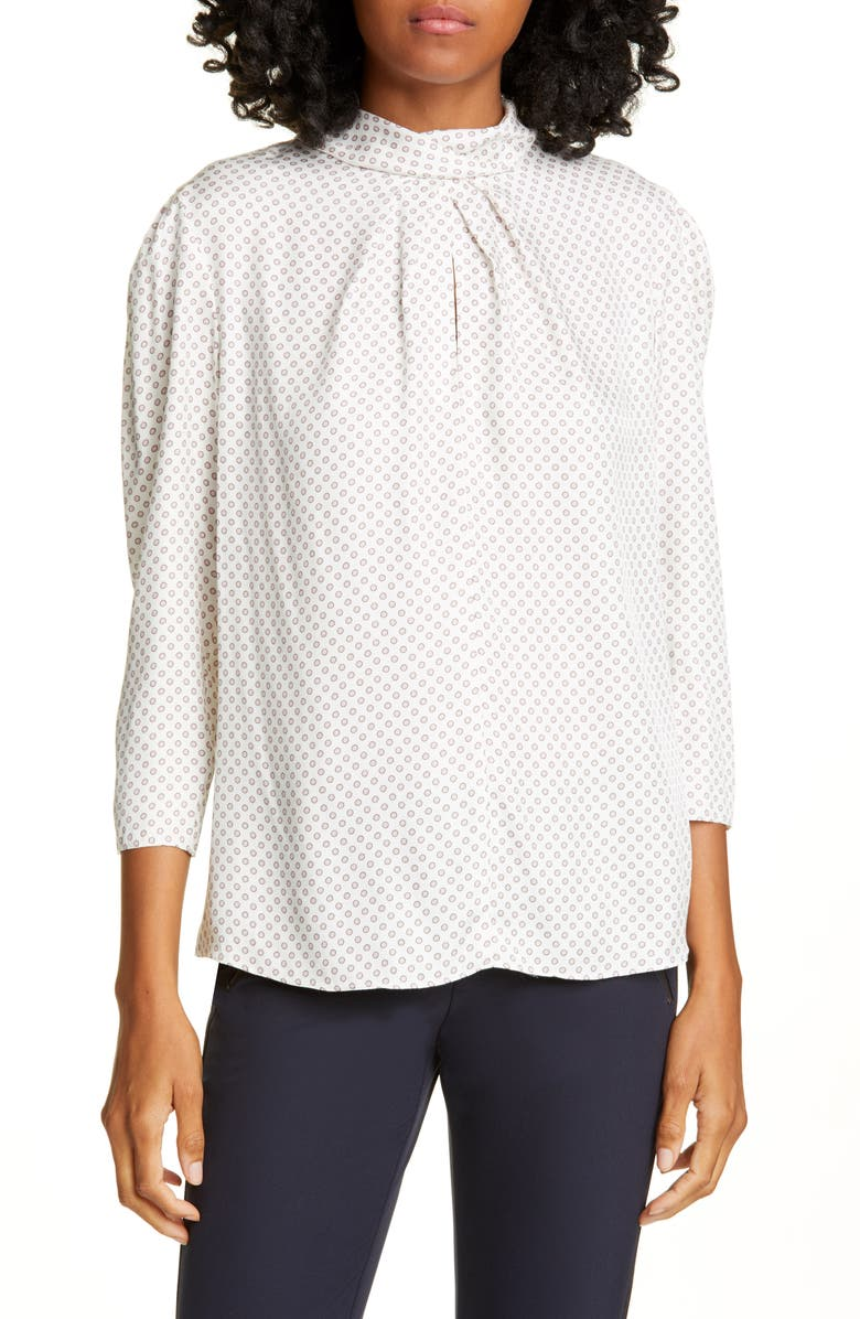 TAILORED BY REBECCA TAYLOR Deco Dot Silk Blend Blouse, Main, color, SNOW COMBO