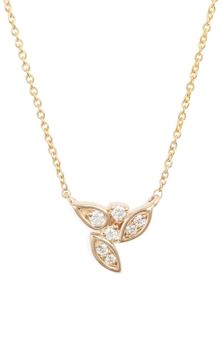 DANA REBECCA DESIGNS Lori Paige Diamond Cluster Necklace, Main, color, YELLOW GOLD/ DIAMOND