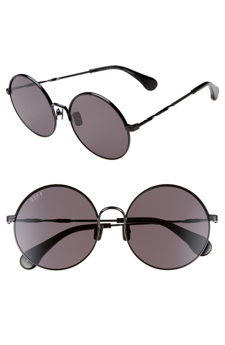 DIFF Isla 58mm Round Sunglasses, Main, color, BLACK/ BLACK/ GREY