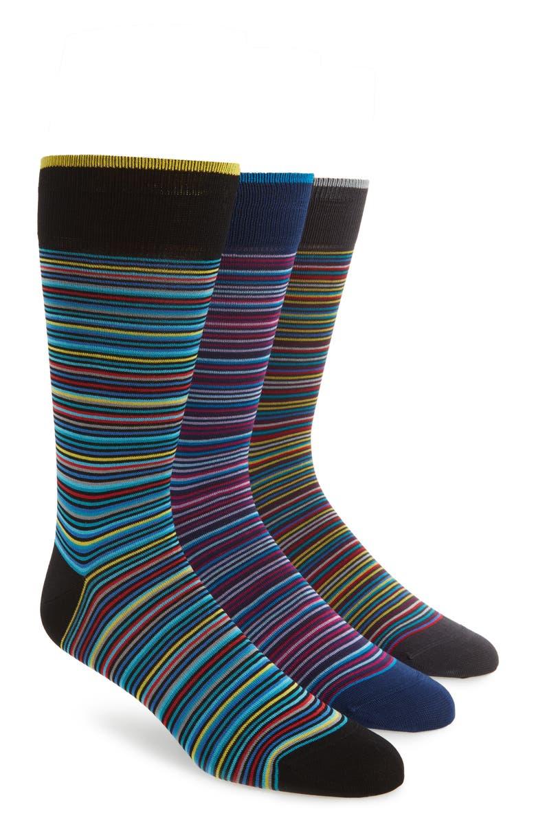 BUGATCHI 3-Pack Stripe Cotton & Cashmere Blend Socks, Main, color, 417