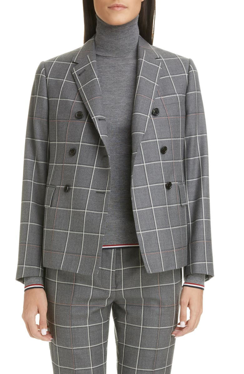 THOM BROWNE Double Breasted Wool Blazer, Main, color, MED GREY