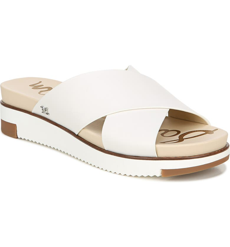 SAM EDELMAN Audrea Slide Sandal, Main, color, BRIGHT WHITE LEATHER