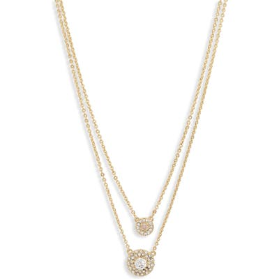 Nordstrom Two-Tier Pave Disc Pendant Necklace