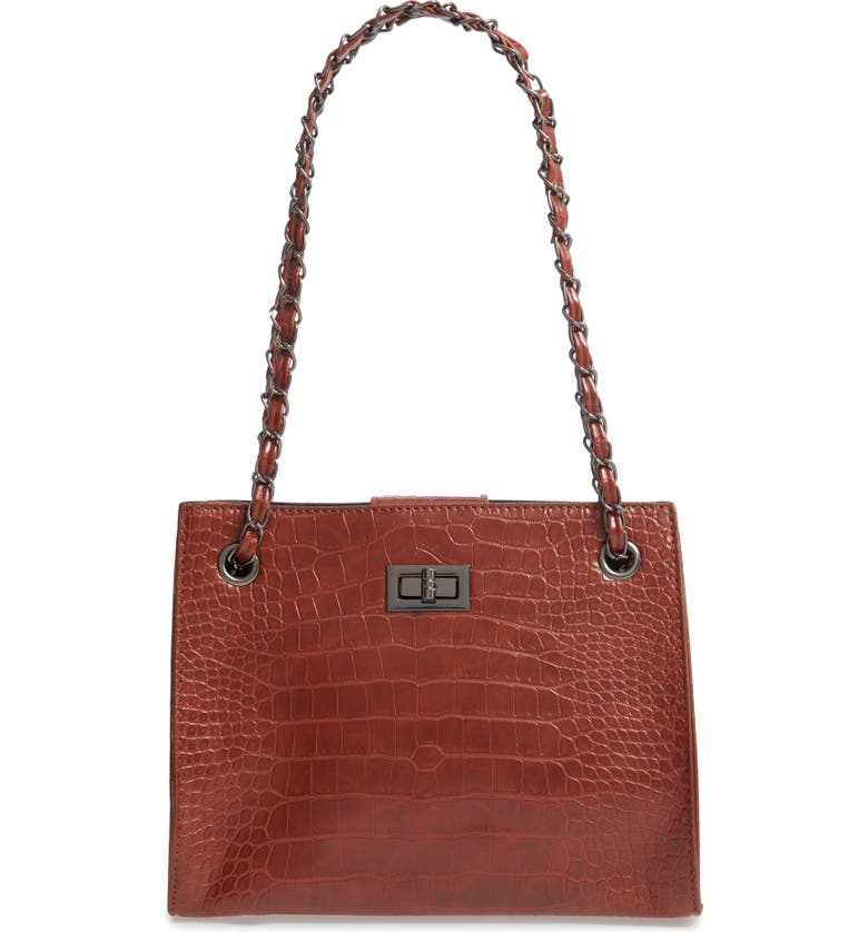 KNOTTY Crocodile Embossed Shoulder Bag with Zip Pouch, Main, color, ORANGE