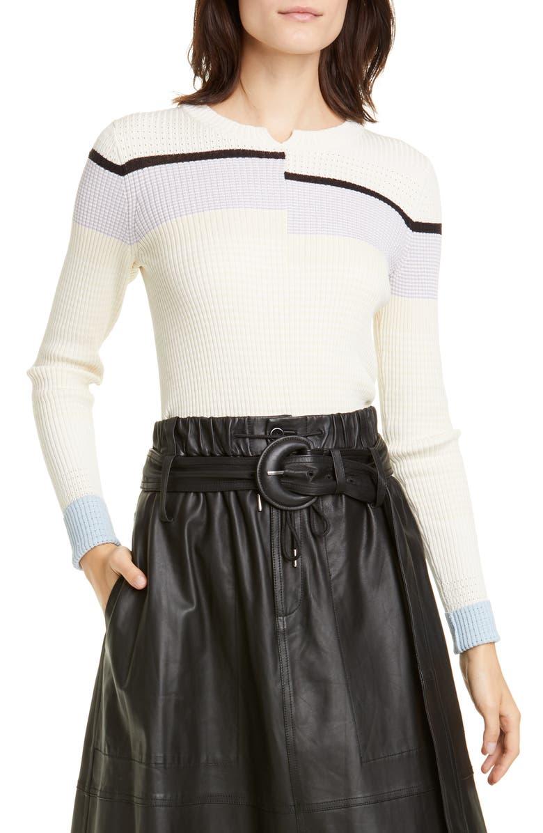 PROENZA SCHOULER White Label Stripe Rib Sweater, Main, color, OFF WHITE/ ECRU MULTI