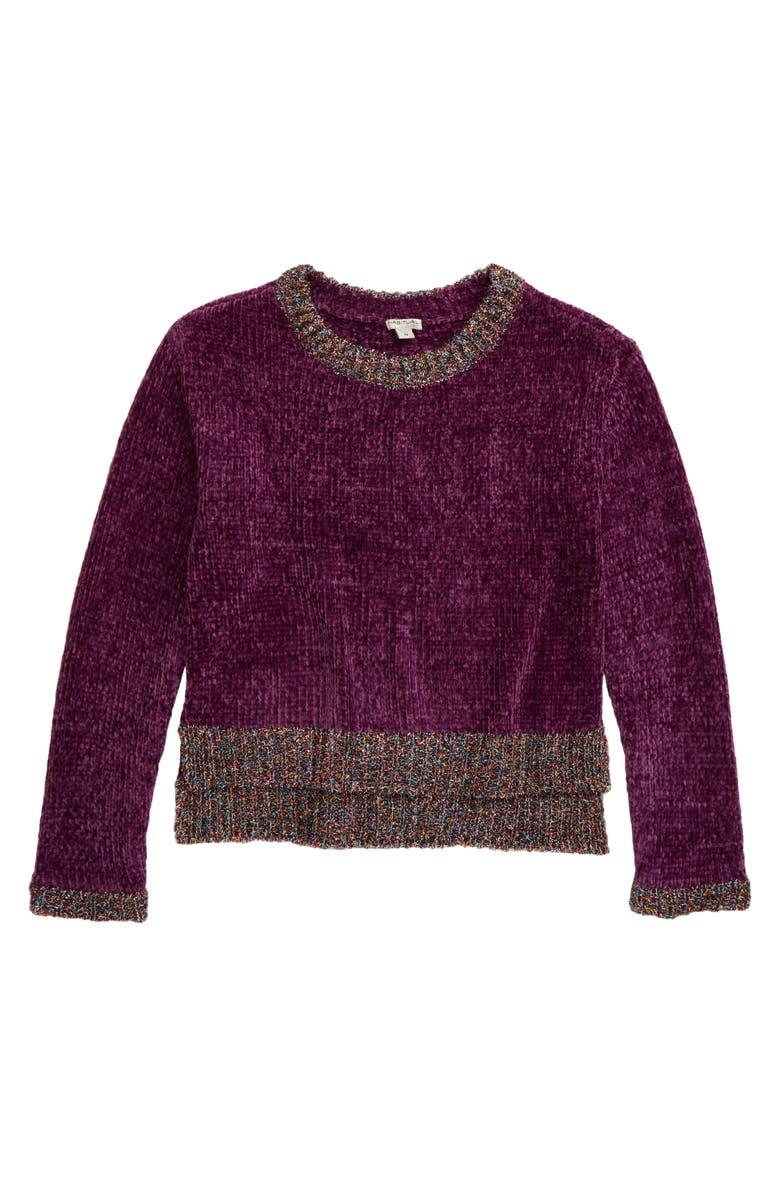 HABITUAL Cassidy Metallic Trim Chenille Sweater, Main, color, PURPLE