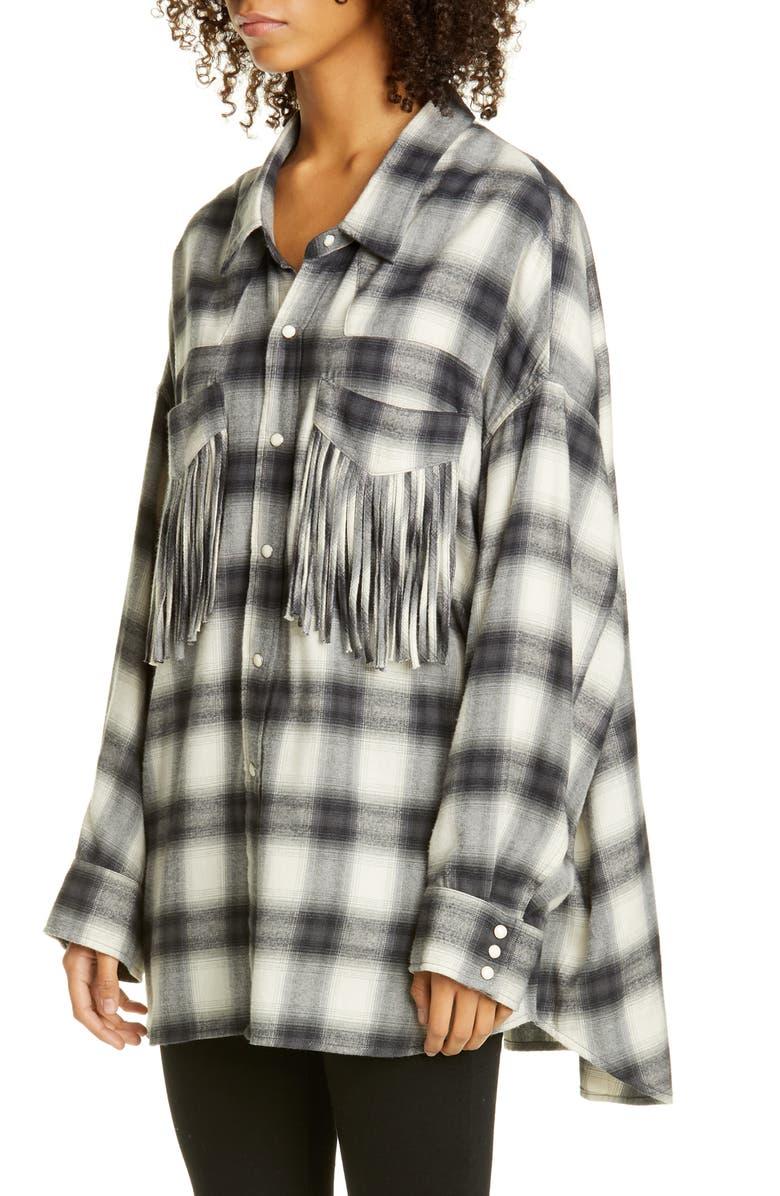R13 Fringe Pocket Plaid Shirt, Main, color, GREY PLAID