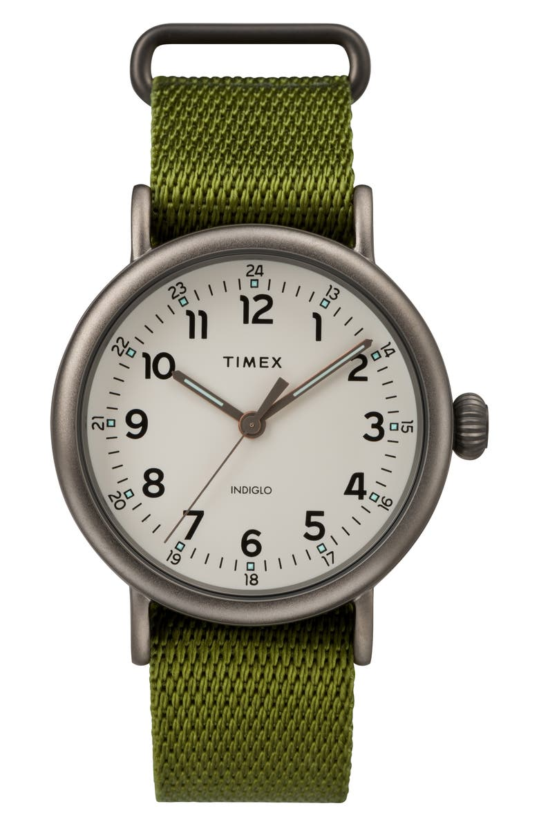 TIMEX<SUP>®</SUP> Standard Textile Strap Watch, 41mm, Main, color, OLIVE/ BEIGE/ BLACK