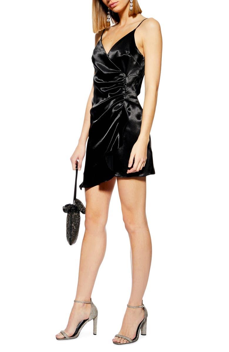 TOPSHOP Ruched Satin Minidress, Main, color, Black
