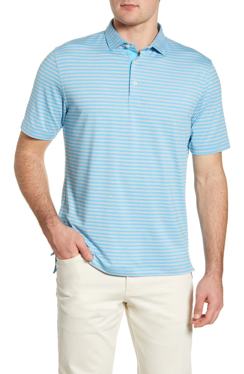 JOHNNIE-O Smith Classic Fit Stripe Performance Polo, Main, color, NIAGARA