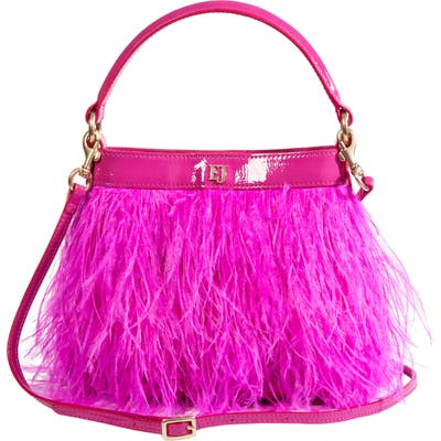Eric Javits Shindig Ostrich Feather Top Handle Bag - Pink