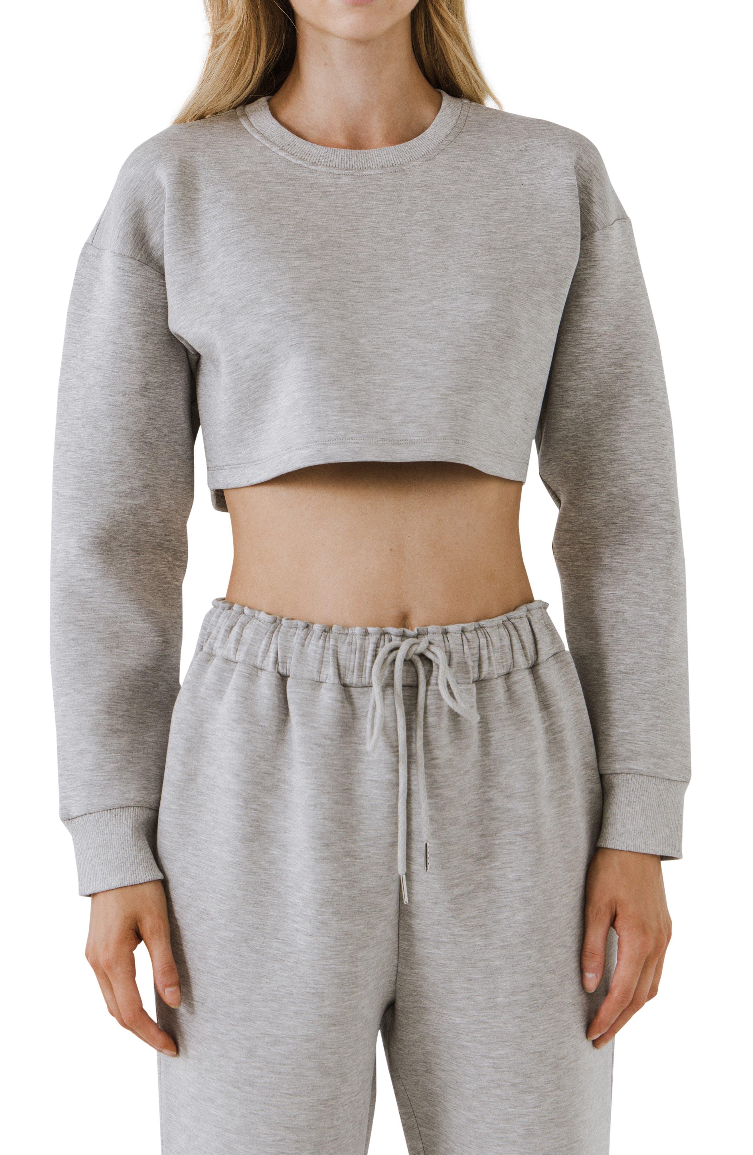 Lounge Wear Crop Crewneck Sweatshirt
