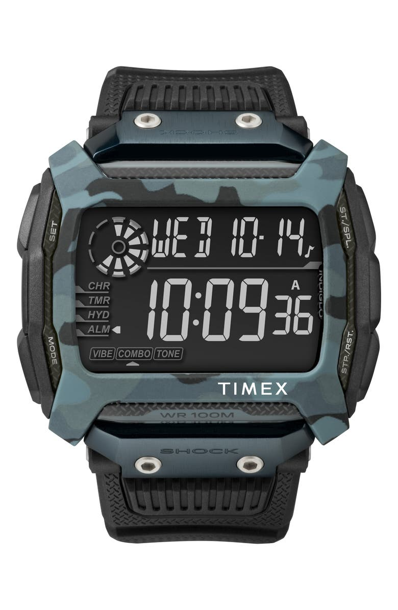 TIMEX<SUP>®</SUP> Timex Command<sup>™</sup> Shock Digital Silicone Strap Watch, 54mm, Main, color, 200