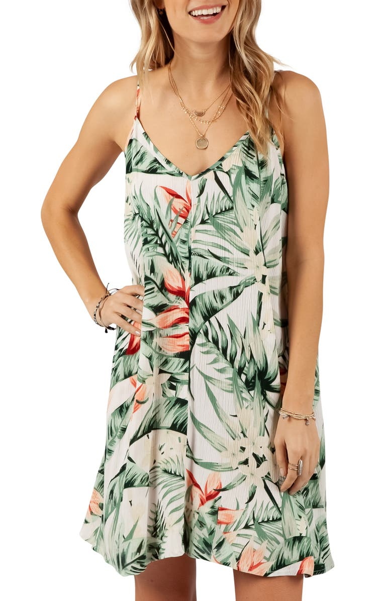 RIP CURL Tropic Heat Palm Print Cover-Up Dress, Main, color, 300