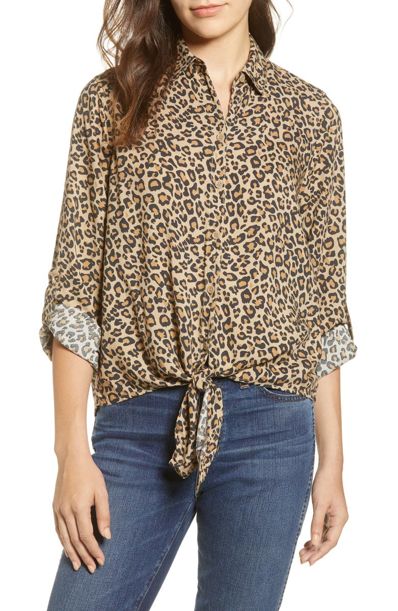 BEACHLUNCHLOUNGE Yumi Leopard Print Tie Front Rayon Top, Main, color, ANIMAL