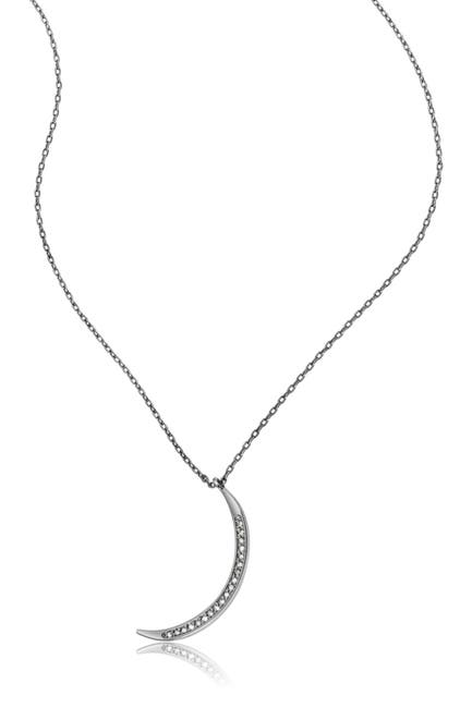 Image of ADORNIA Fine Black Rhodium Plated Sterling Silver Pave Diamond Crescent Moon Pendant Necklace - 0.1 ctw