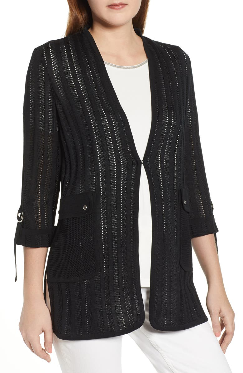 MING WANG Pointelle Jacket, Main, color, BLACK