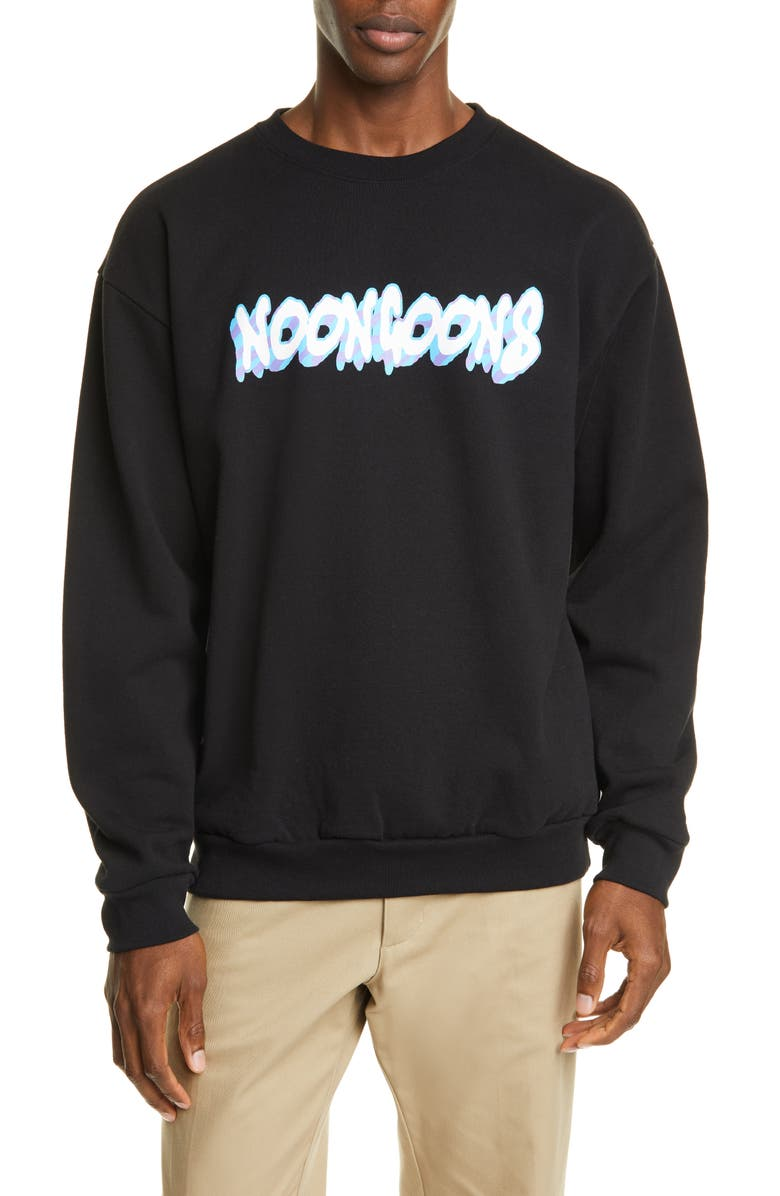 NOON GOONS Wave Logo Sweatshirt, Main, color, BLACK