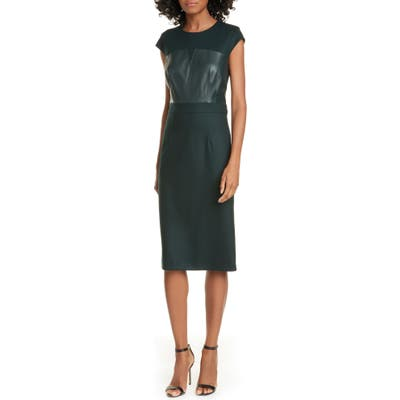 Judith & Charles Heathrow Leather Detail Pencil Dress, Green