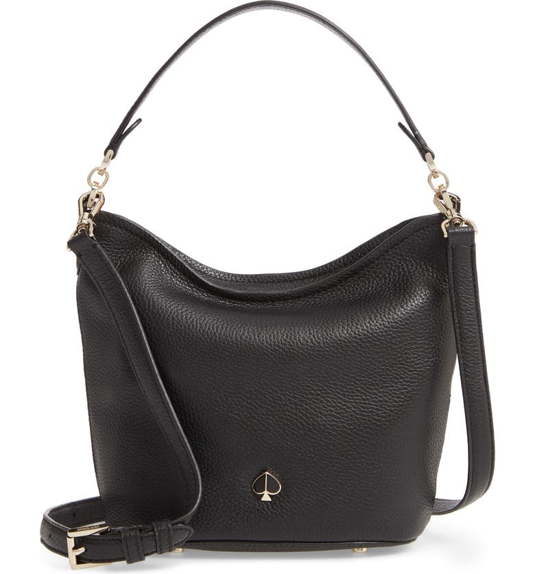 KATE SPADE NEW YORK small polly leather hobo bag, Main, color, BLACK