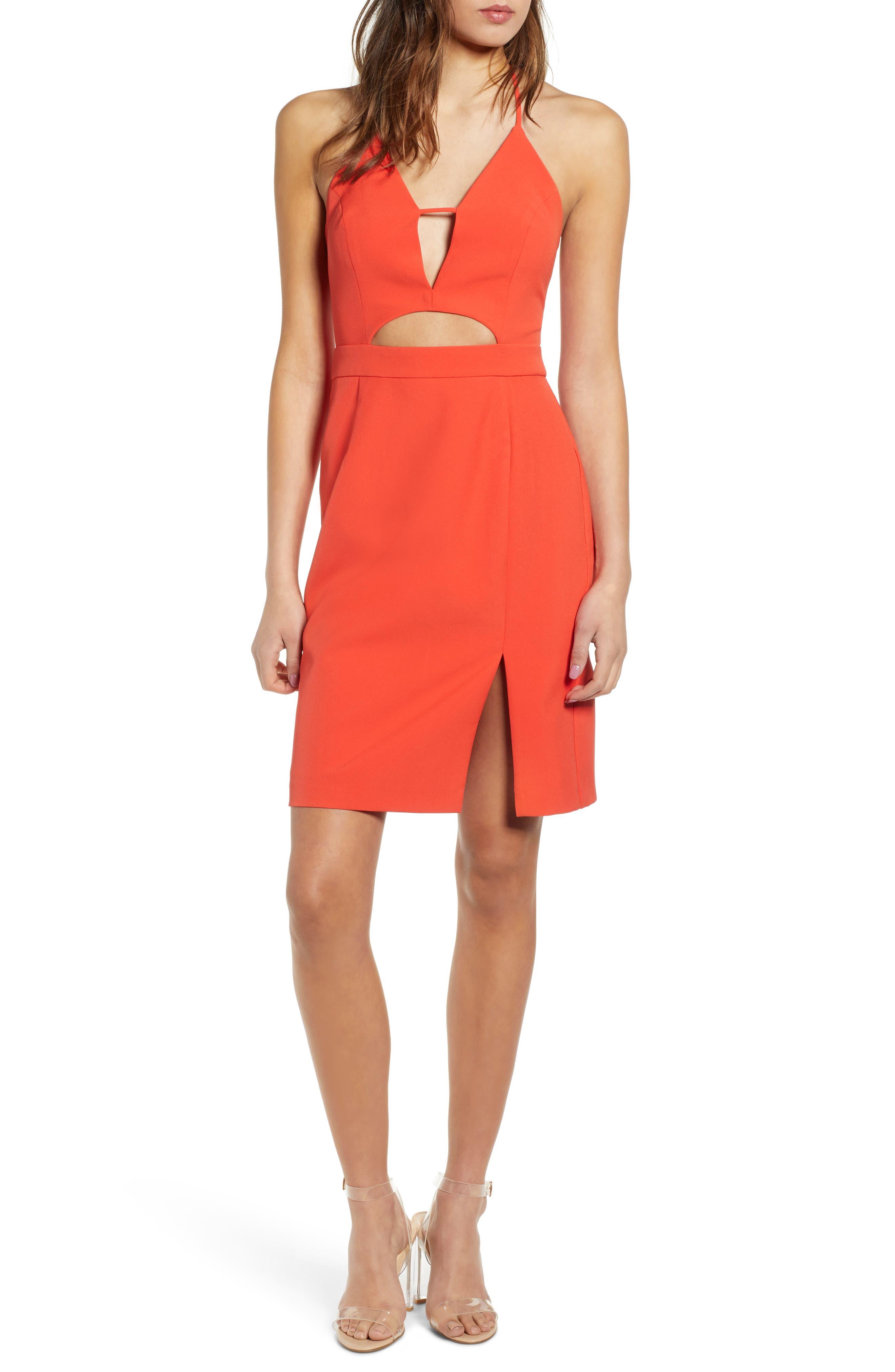 Endless Rose Cutout Halter Minidress, Orange