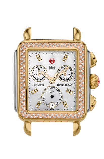 Michele Watches 'DECO DIAMOND' DIAMOND DIAL TRI TONE WATCH CASE