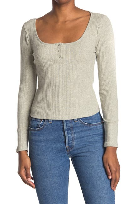 Image of Lush Scoop Neck Rib Knit Henley