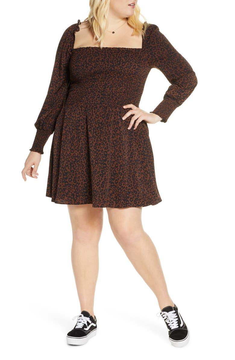 BP. Smocked Long Sleeve Minidress, Main, color, TAN DALE LEOPARD