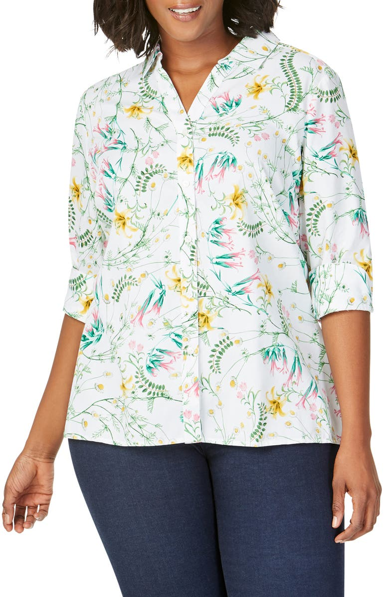 FOXCROFT Maria Botanical Shirt, Main, color, MULTI