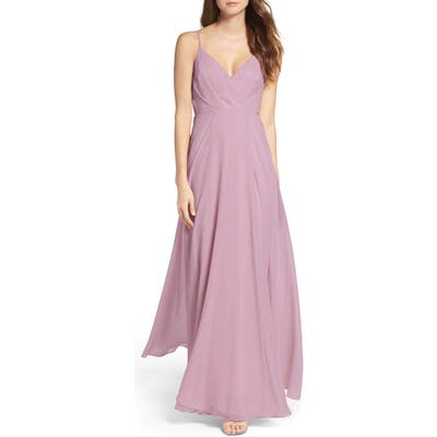 Lulus Surplice Chiffon Gown, Purple